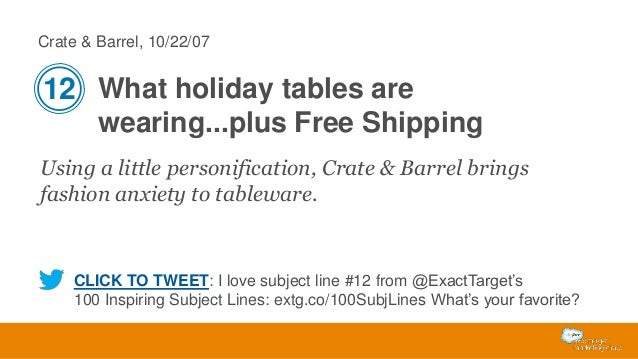 Crate & Barrel, 10/22/07  12 What holiday tables are wearing...plus Free Shipping Using a little personification, Crate & ...