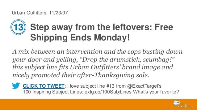 Urban Outfitters, 11/23/07  13 Step away from the leftovers: Free Shipping Ends Monday! A mix between an intervention and ...