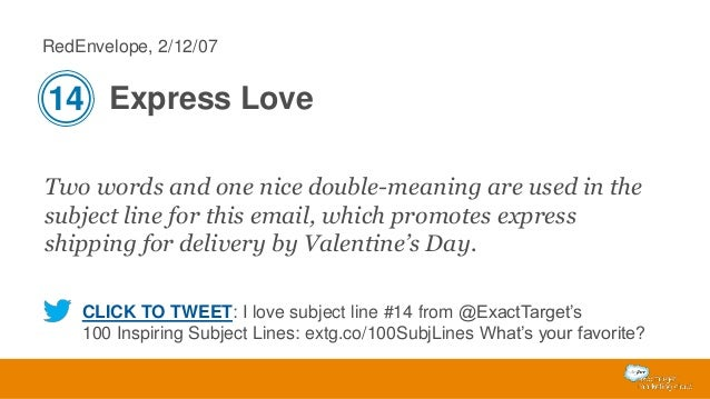 RedEnvelope, 2/12/07  14 Express Love Two words and one nice double-meaning are used in the subject line for this email, w...