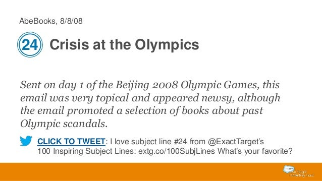 AbeBooks, 8/8/08  24 Crisis at the Olympics Sent on day 1 of the Beijing 2008 Olympic Games, this email was very topical a...