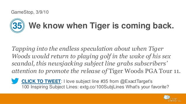 GameStop, 3/9/10  35 We know when Tiger is coming back. Tapping into the endless speculation about when Tiger Woods would ...