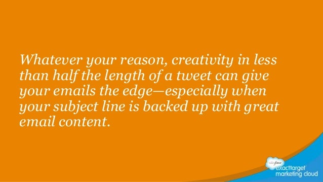 Whatever your reason, creativity in less than half the length of a tweet can give your emails the edge—especially when you...