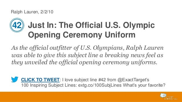 Ralph Lauren, 2/2/10  42 Just In: The Official U.S. Olympic Opening Ceremony Uniform As the official outfitter of U.S. Oly...