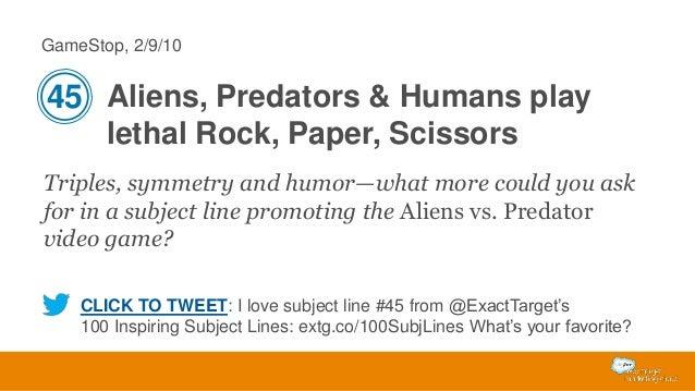 GameStop, 2/9/10  45 Aliens, Predators & Humans play lethal Rock, Paper, Scissors Triples, symmetry and humor—what more co...