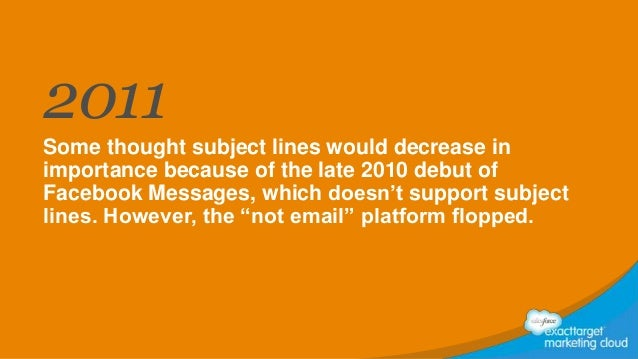 2011 Some thought subject lines would decrease in importance because of the late 2010 debut of Facebook Messages, which do...