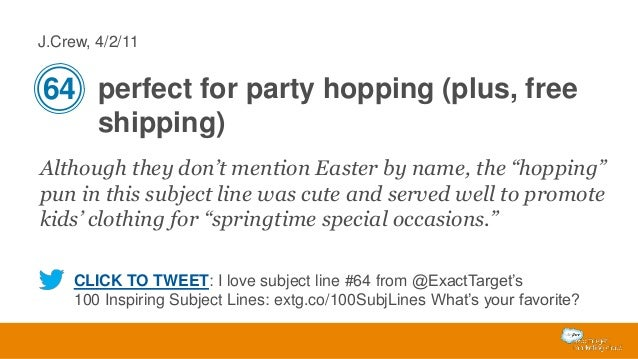 """J.Crew, 4/2/11  64 perfect for party hopping (plus, free shipping) Although they don't mention Easter by name, the """"hoppin..."""