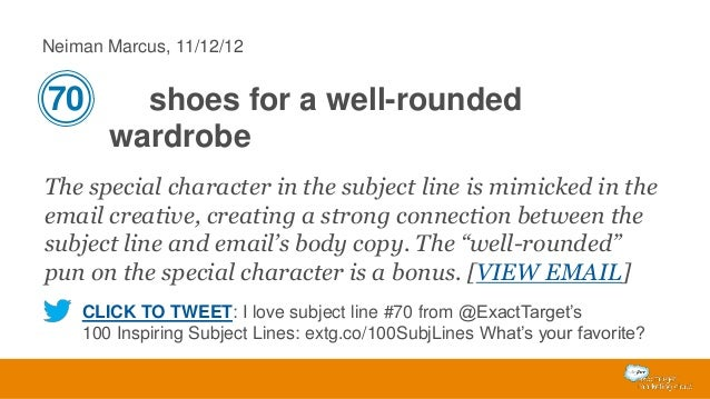 Neiman Marcus, 11/12/12  70  shoes for a well-rounded wardrobe  The special character in the subject line is mimicked in t...