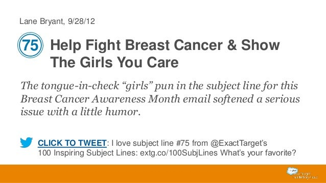 """Lane Bryant, 9/28/12  75 Help Fight Breast Cancer & Show The Girls You Care The tongue-in-check """"girls"""" pun in the subject..."""