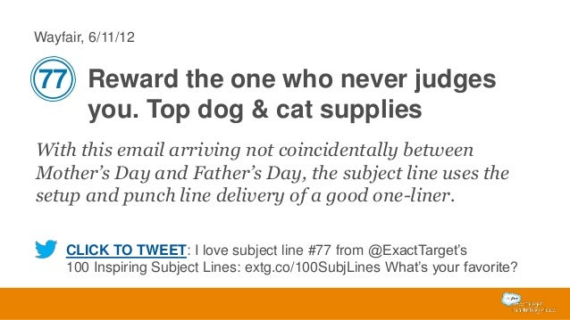 Wayfair, 6/11/12  77 Reward the one who never judges you. Top dog & cat supplies With this email arriving not coincidental...