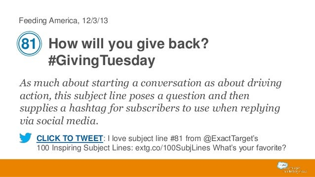 Feeding America, 12/3/13  81 How will you give back? #GivingTuesday As much about starting a conversation as about driving...
