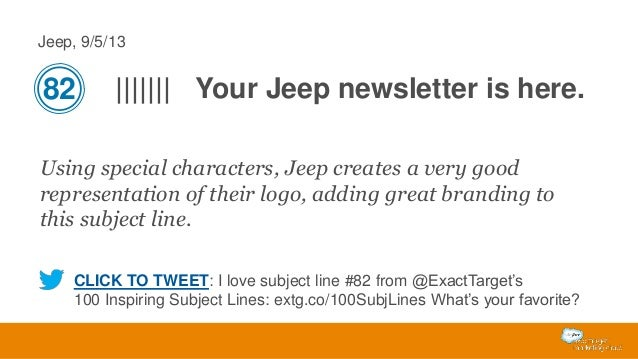 Jeep, 9/5/13  82  ||||||| Your Jeep newsletter is here.  Using special characters, Jeep creates a very good representation...