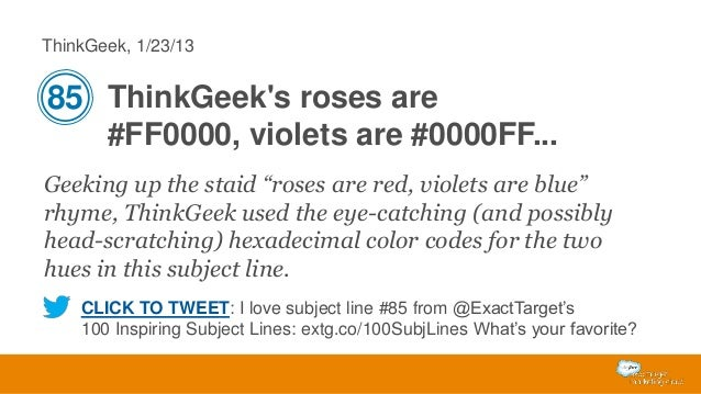 """ThinkGeek, 1/23/13  85 ThinkGeek's roses are #FF0000, violets are #0000FF... Geeking up the staid """"roses are red, violets ..."""