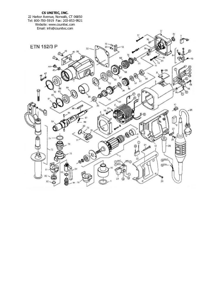 CS Unitec Electric Core Drill Schematics: ETN 152/3P