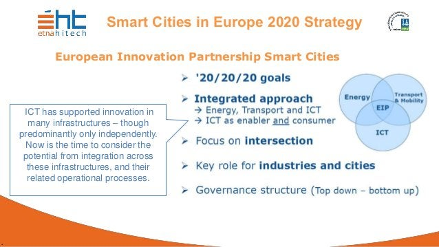 . Smart Cities in Europe 2020 Strategy European Innovation Partnership Smart Cities ICT has supported innovation in many i...