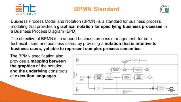 . BPMN Standard Business Process Model and Notation (BPMN) is a standard for business process modeling that provides a gra...