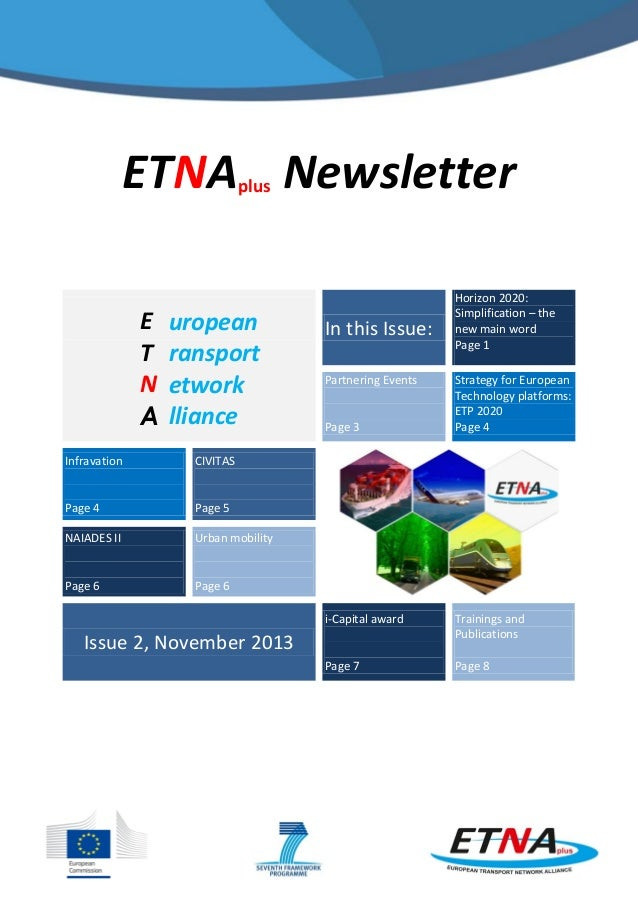ETNA Newsletter plus  E T N A  uropean ransport etwork lliance  Infravation  Urban mobility  Page 6  Page 3  Strategy for ...