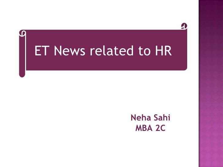 ET News related to HR Neha Sahi MBA 2C