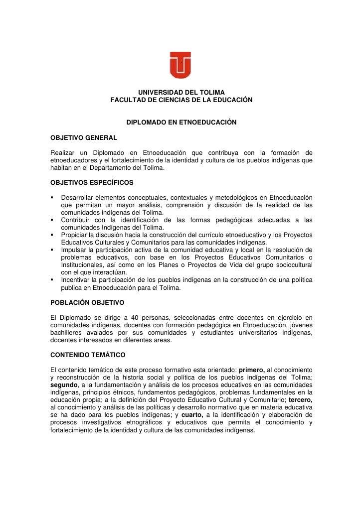 UNIVERSIDAD DEL TOLIMA                     FACULTAD DE CIENCIAS DE LA EDUCACIÓN                             DIPLOMADO EN E...