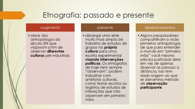Etnografia: passado e presente surgimento •obras dos antropólogos do século XIX que viajavam a fim de observar diferentes ...