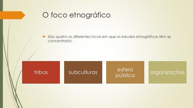 O foco etnográfico  São quatro os diferentes focos em que os estudos etnográficos têm se concentrado: tribos subculturas ...
