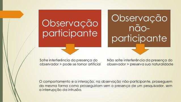 Observação participante Observação não- participante Sofre interferência da presença do observador > pode se tornar artifi...