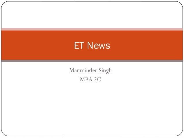 Manminder Singh MBA 2C ET News