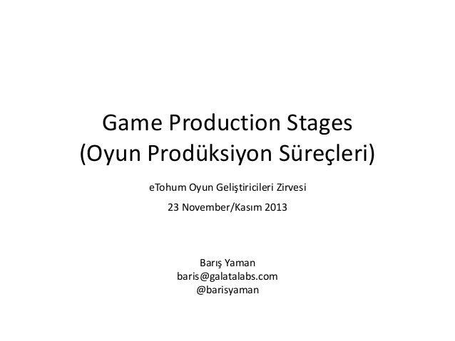 Game Production Stages (Oyun Prodüksiyon Süreçleri) eTohum Oyun Geliştiricileri Zirvesi 23 November/Kasım 2013  Barış Yama...
