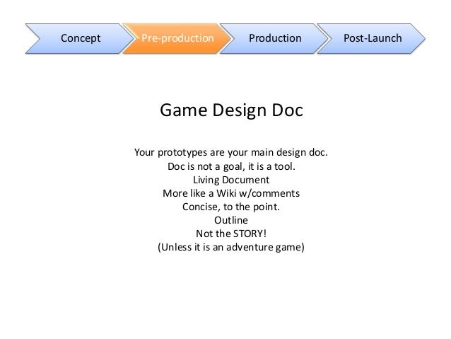 Game Production Stages ETohum Game Developers Summit November - Contoh game design document