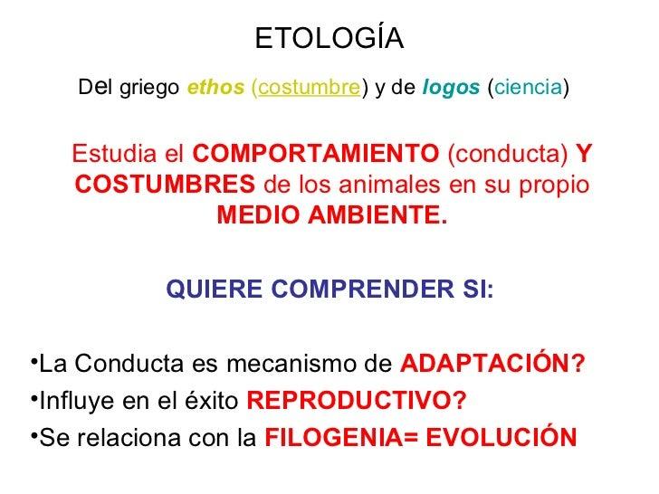 ETOLOGÍA D e l griego  ethos  ( costumbre ) y de  logos  ( ciencia )   <ul><li>Estudia el  COMPORTAMIENTO  (conducta)  Y C...