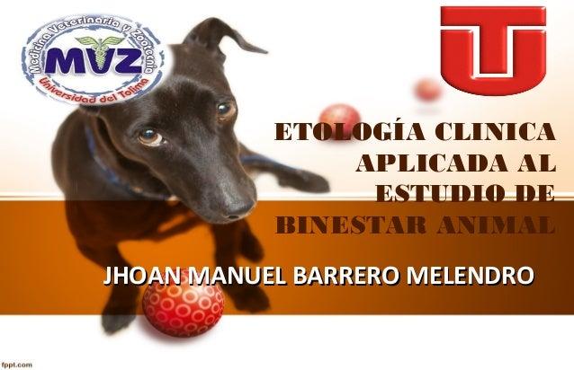 ETOLOGÍA CLINICA  APLICADA AL  ESTUDIO DE  BINESTAR ANIMAL  JJHHOOAANN MMAANNUUEELL BBAARRRREERROO MMEELLEENNDDRROO