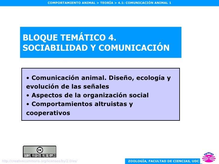 BLOQUE TEMÁTICO 4. SOCIABILIDAD Y COMUNICACIÓN <ul><li>Comunicación animal. Diseño, ecología y evolución de las señales </...