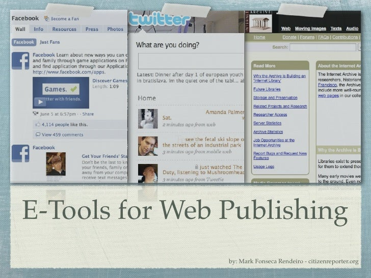 Text              Text     E-Tools for Web Publishing                     by: Mark Fonseca Rendeiro - citizenreporter.org