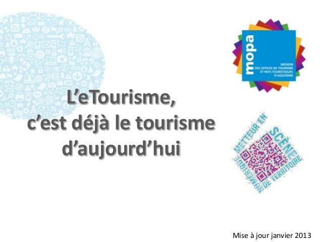 L'eTourisme,c'est déjà le tourisme    d'aujourd'hui                         Mise à jour janvier 2013