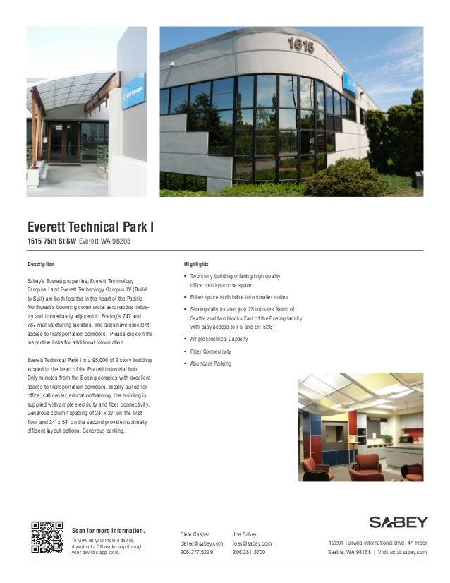 Everett Technical Park I 1615 75th St SW Everett WA 98203 Description  Highlights  Sabey's Everett properties, Everett Tec...
