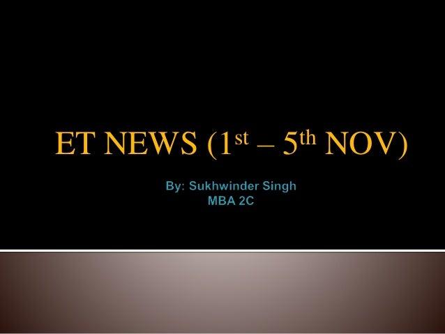 ET NEWS (1st – 5th NOV)