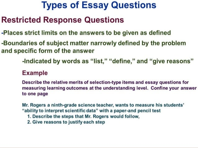 examples of restricted response essay questions