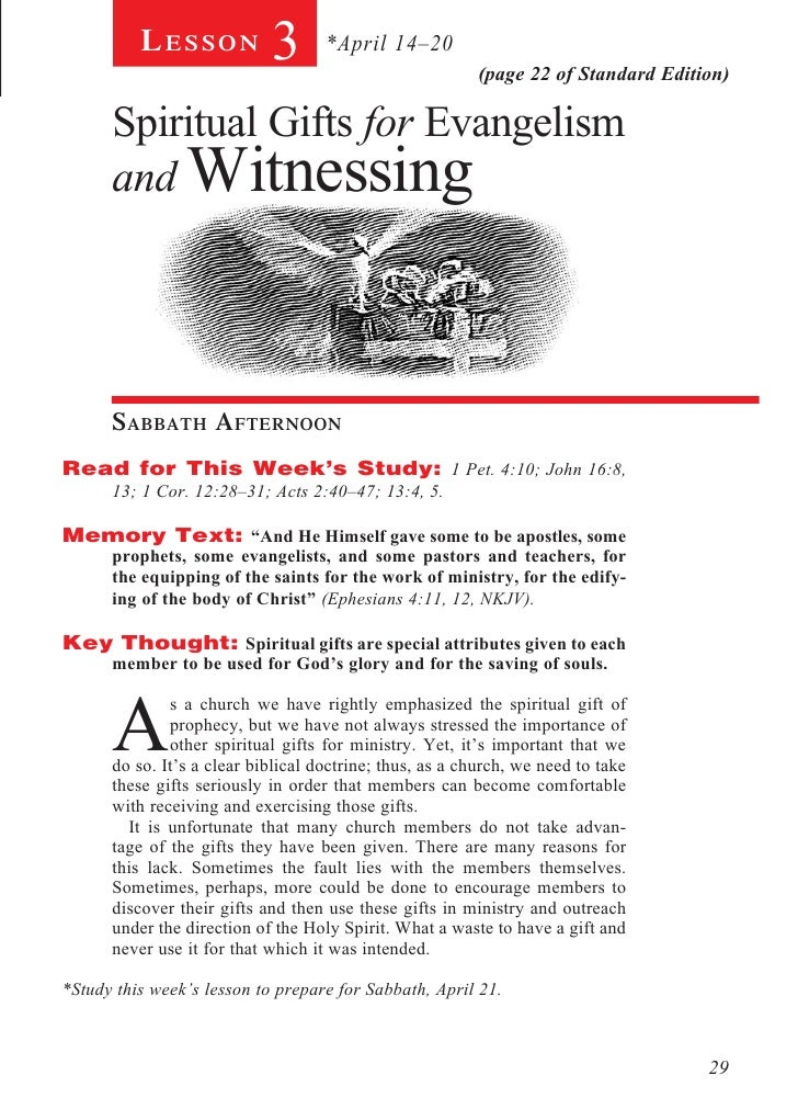 Lesson            3       *April 14–20                                                         (page 22 of Standard Editio...