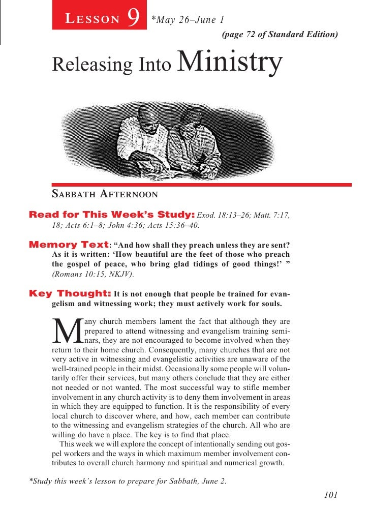 Lesson             9      *May 26–June 1                                                          (page 72 of Standard Edi...