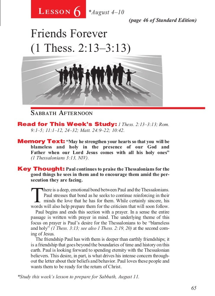 Lesson           6       *August 4–10                                                           (page 46 of Standard Editi...