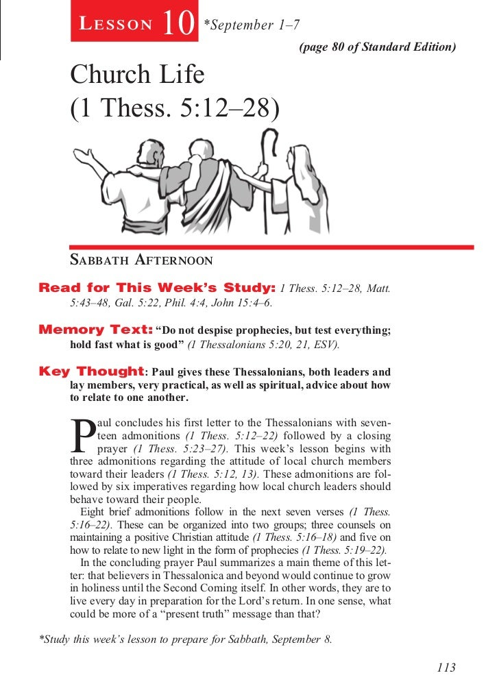 Lesson            10 *September 1–7              (page 80 of Standard Edition)      Church Life      (1 Thess. 5:12–28)   ...