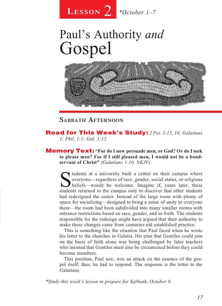 Lesson            2      *October 1–7      Paul's Authority and      Gospel      sabbath afternoonRead for This Week's Stu...