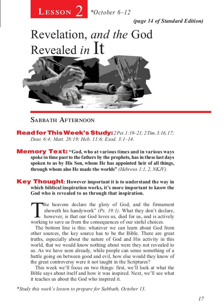 Lesson            2       *October 6–12                                                          (page 14 of Standard Edit...