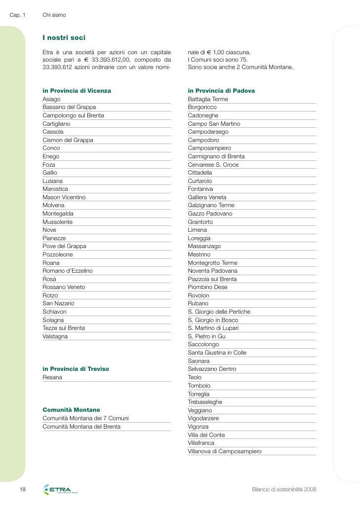 Etra bilancio sostenibilita 2008 for Cap villa del conte