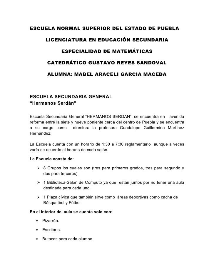 ESCUELA NORMAL SUPERIOR DEL ESTADO DE PUEBLA          LICENCIATURA EN EDUCACIÓN SECUNDARIA                       ESPECIALI...