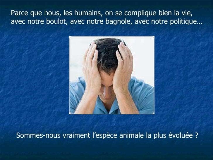 Parce que nous, les humains, on se complique bien la vie, avec notre boulot, avec notre bagnole, avec notre politique… Som...