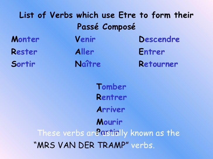 Etre With Passe Compose