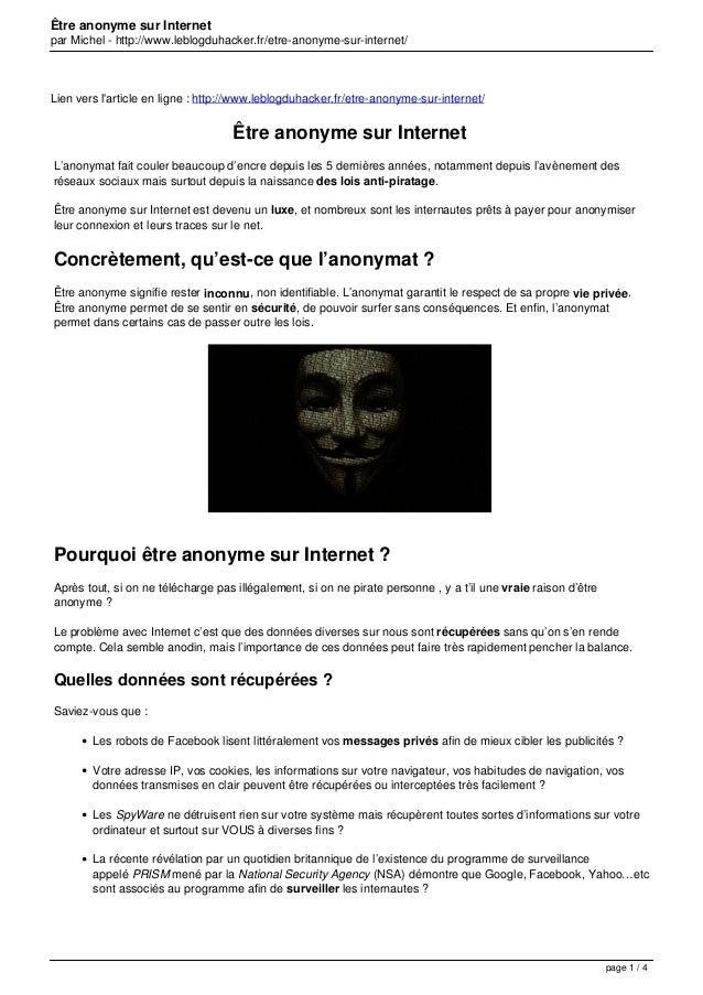 Être anonyme sur Internet par Michel - http://www.leblogduhacker.fr/etre-anonyme-sur-internet/ Lien vers l'article en lign...