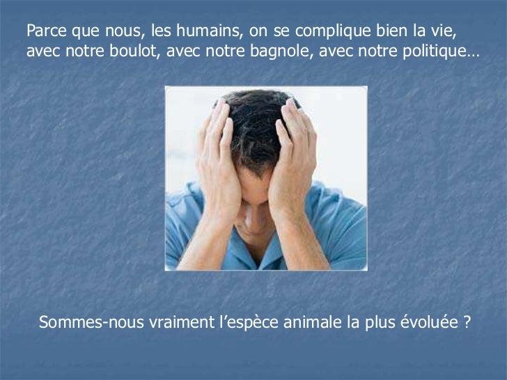 Parce que nous, les humains, on se complique bien la vie,avec notre boulot, avec notre bagnole, avec notre politique… Somm...