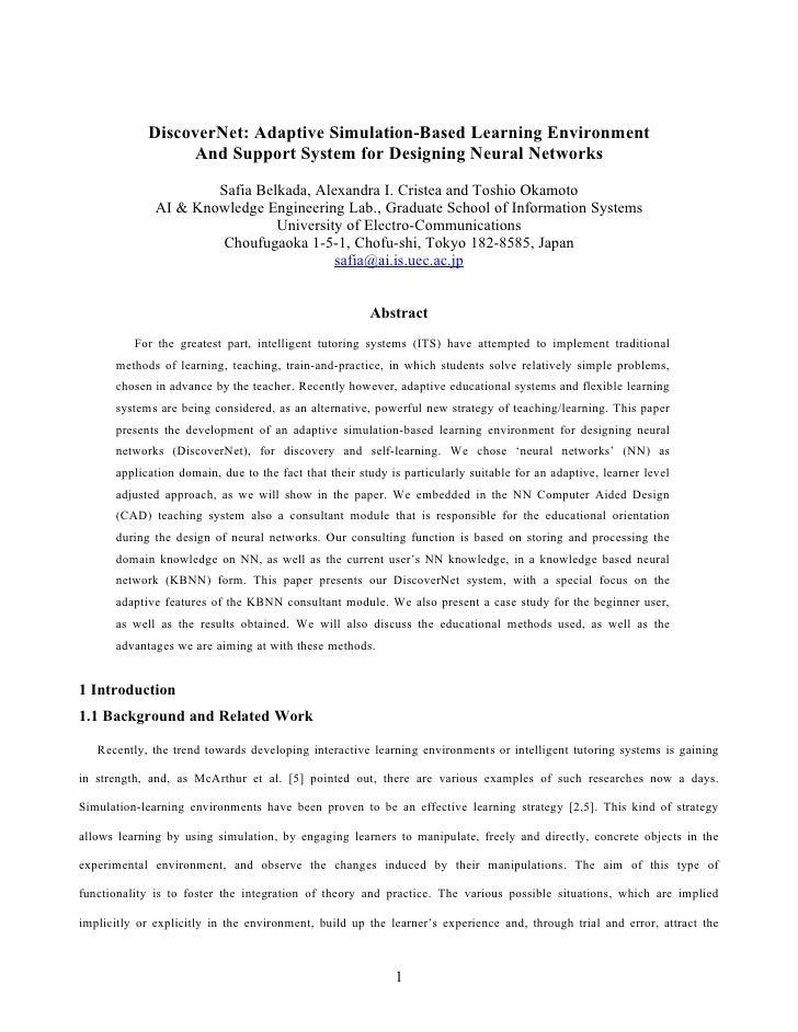 DiscoverNet: Adaptive Simulation-Based Learning Environment                   And Support System for Designing Neural Netw...