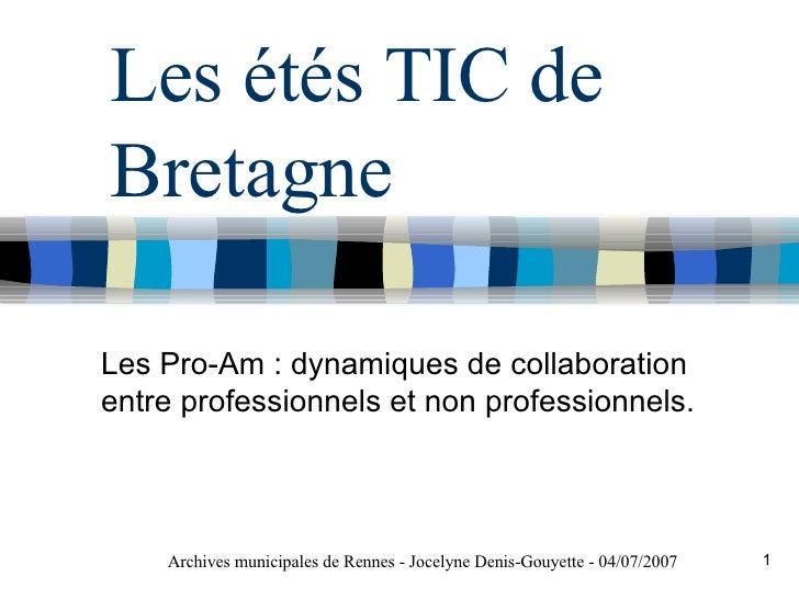 Les étés TIC de Bretagne Les Pro-Am : dynamiques de collaboration entre professionnels et non professionnels. Archives mun...